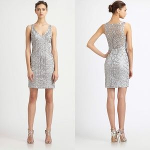 Sue Wong Nocturne Womens Dress Metallic Lace in Pl